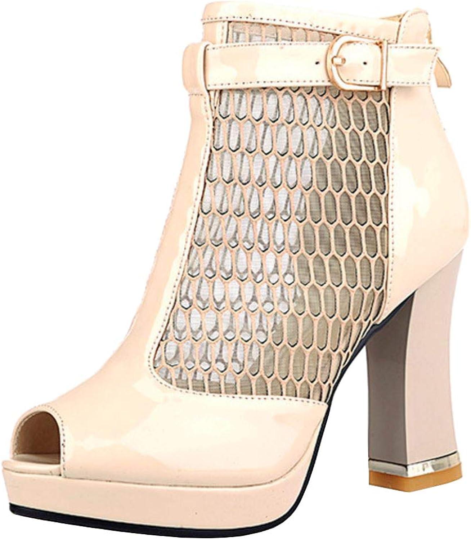 Melady Women Fashion Block Heels Summer Boots Ankle High Heels Zipper Black