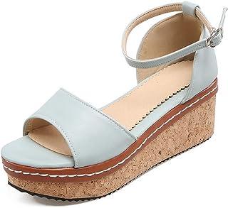 BalaMasa Womens ASL06245 Pu Platform Heels