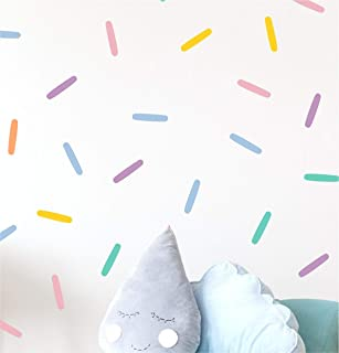 Pastel Confetti Sprinkles Wall Decals (1 inch x 5 inch confetti - 160 Decals total) Easy Peel and Stick Matte Finish Removable Decals Safe on Painted Walls