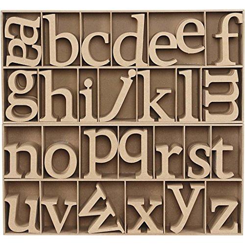 Lettres en bois, h: 8 cm, épaisseur 2 cm, MDF, Présentoir en bois inclus, 112pièces