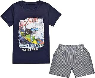 Yilaku Little Boy Clothes Tops and Shorts Sets Cartoon Short Sleeve T-Shirts Kids Summer Clothing