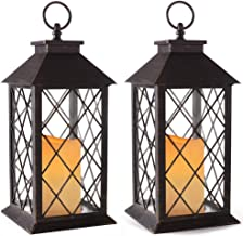 """Bright Zeal 14"""" Tall Vintage Candle Lantern with LED Flickering Flameless Candles and Timer (Distressed Bronze) - Indoor O..."""