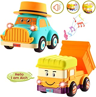 INSOON Pack of 2 Toddler Car Toys for 3 4 5 6 Year Old Girls Boys Children Fun Cartoon Toy Truck Vehicles with Light Sound and Music for Kid Activities or Birthday