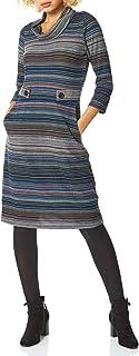 Roman Originals - Vestido de rayas para mujer con escote de cascada y detalle de botón, para oficina, día o otoño, inviern...