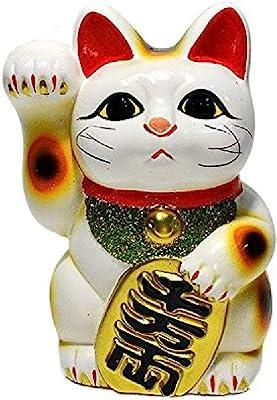 Made in Japan Lucky Cat 6.3'' Tokoname Porcelain White Maneki Neko Right Hand