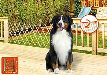 ib style® LIN XXL barrière de sécurité pour animaux   Bois   NATURE   62-230 cm