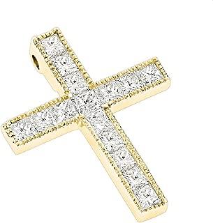 14K Gold Princess Cut Natural 2.5 Ctw Diamond Cross Necklace