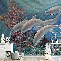 カスタム3D壁紙子供写真壁画壁紙海漫画イルカ家の装飾子供部屋寝室壁紙3D-150x120cm