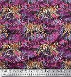 Soimoi Rosa Rayon Krepp Stoff Textur, Blätter & Tiger Tier