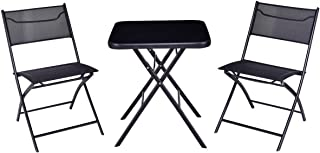 Giantex 3PC Bistro Set Folding Square Table and Chair Set Outdoor Furniture Backyard (Square Table)
