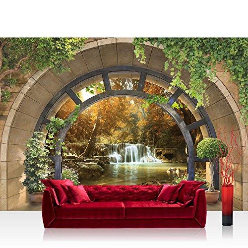 Vlies Fototapete 416x254 cm PREMIUM PLUS Wand Foto Tapete Wand Bild Vliestapete - Natur Tapete Ausblick Fenster Bogen Wasser Wasserfall Bäume Pflanzen 3D natural - no. 4560
