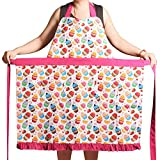Love Potato Aprons for Women Girls Plus Size, Adjustable Kitchen Cooking Apron with 2 Pockets & Extra Long Ties, 34x36 inch (Pink Cupcake)