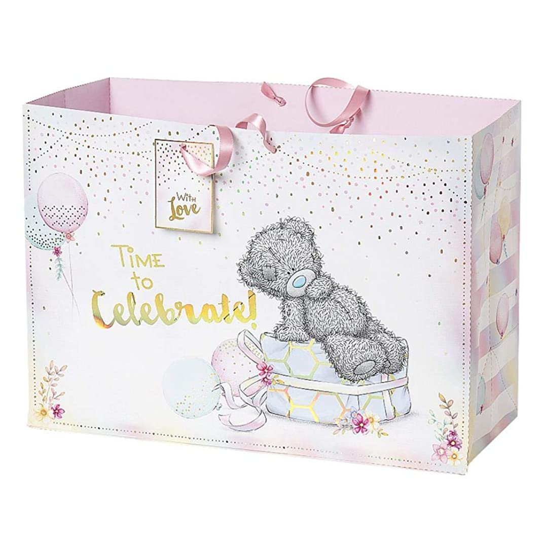 Me To You AWJ01002 Time to Celebrate Extra Large Gift Bag-Birthday, Pink