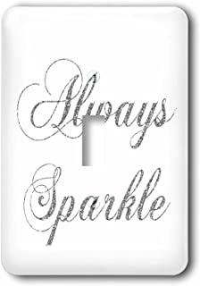 3dRose lsp_186760_1 Silver Image of Glitter Always Sparkle Light Switch Cover