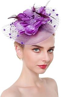 VPbao Women Derby Hat Accessories Mesh Feather Flower Headwear with Hair Clip Headband