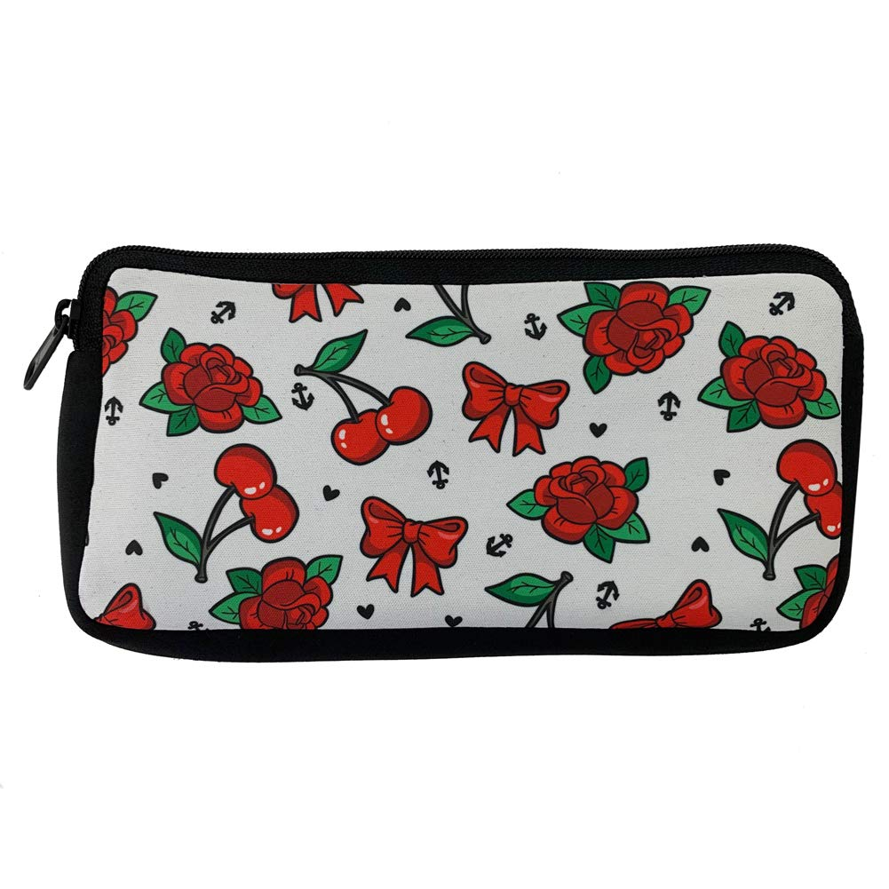 Elegant Cherries Bows Limited time trial price and Red Roses Cosmetic Pencil Case Bag Makeup Zipp