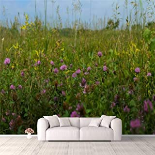 Modern 3D PVC Design Removable Wallpaper for Bedroom Living Room Spring prairie wildflowers Wallpaper Stick and Peel Wall ...