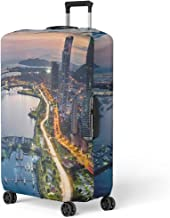 Pinbeam Luggage Cover Financial Avenida Balboa at Dusk in Panama City Travel Suitcase Cover Protector Baggage Case Fits 22-24 inches