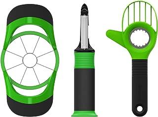 beyetori Kitchen Fruit Tools Gadgets Set, Avocado Slicer Apple Corer Cutter and Vegetable Peeler, Middle, Green
