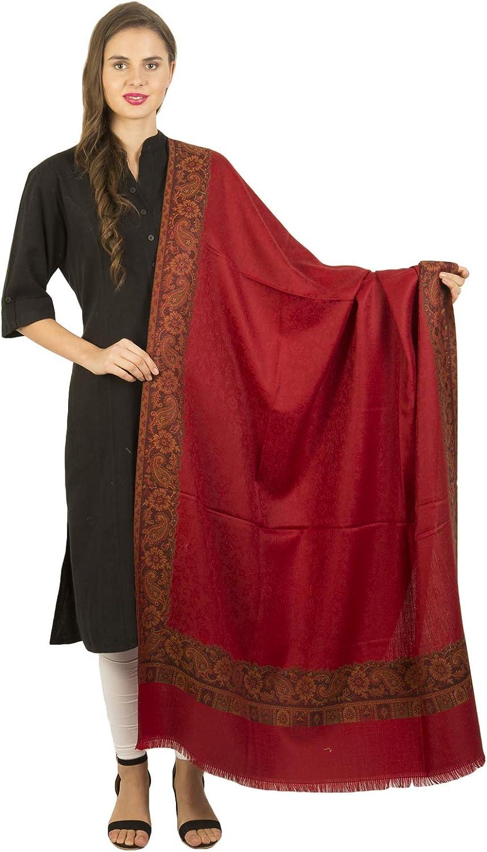 La Vastraa's Woolen Jacquard Design Border Rust Shawl