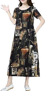 女性の綿と麻の花柄のドレスOネック半袖エスニック風ルースドレスろんぐ ぬりえ もこもこ ドレス やすい おおきいサイズ ドレス かみかざり