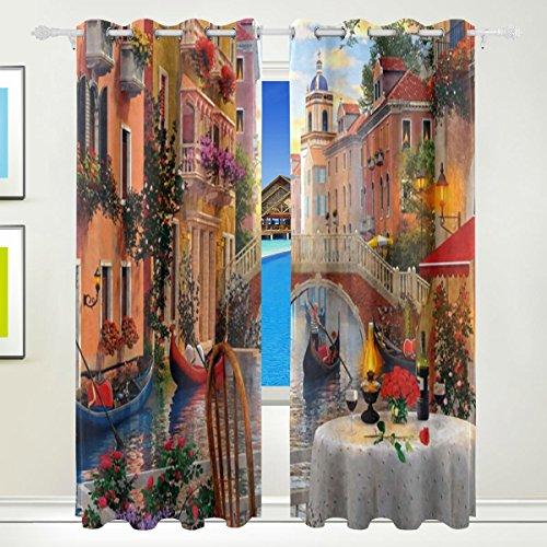 LIANCHENYI Romantische VeWater City Fenster Verdunkelungsvorhänge mit Ösen, 140 x 213 cm, verdunkelnder Jalousie, isolierte, sonnenfeste Vorhänge für Schlafzimmer, Wohnzimmer, inkl. 2 Paneele