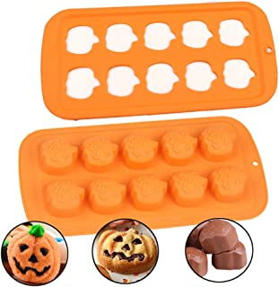 2 Pcs Halloween Baking Mold Pumpkins Silicone Candy Chocolate Molds for Cake Decoration Cupcakes,Cookies, Sugar, Gum Paste, Resin, Polymer Clay
