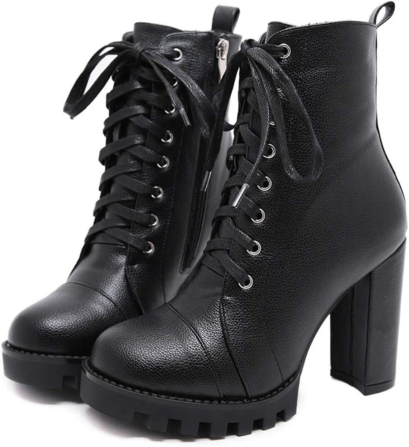Zarbrina Womens Ankle Boots Round Toe Lace Up Cross Tied High Heels Winter Platform Warm Party Knight Booties