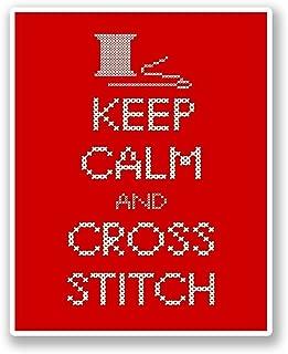 2 x 25cm/250mm Keep Calm & Cross Stitch WINDOW CLING STICKER Car Van Campervan Glass #5518
