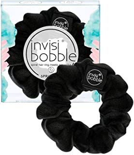 invisibobble Sprunchie Spiral Hair Ring - True Black - Scrunchie Stylish Bracelet, Strong Elastic Grip Coil Accessories fo...