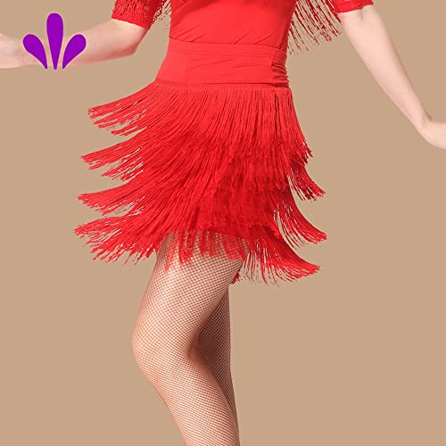Femmes Classique Latin Danse Robe Buste Jupe Gland Jupe Salon Danse Robe Danse Costume,rouge,M