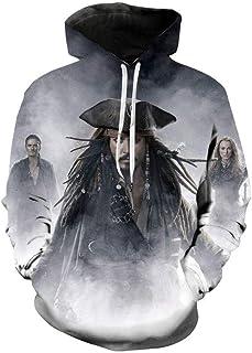 XGWY Men's Pullover Hoodie Pirates of The Caribbean 3D Printing Hoody Long Sleeve Sweatshirt Spring Autumn