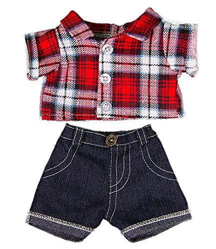 Rot kariertes Hemd und Jeans Teddybär Outfit Kleidung, für Teddybären von 20 cm bis 25 cm von Kopf bis Fuß, Taille 23cm-28cm