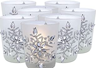 BANBERRY DESIGNS Snowflake Votive Candleholders with Flameless Flickering LED Candles Frosted Glass Glittery Snowflakes wi...