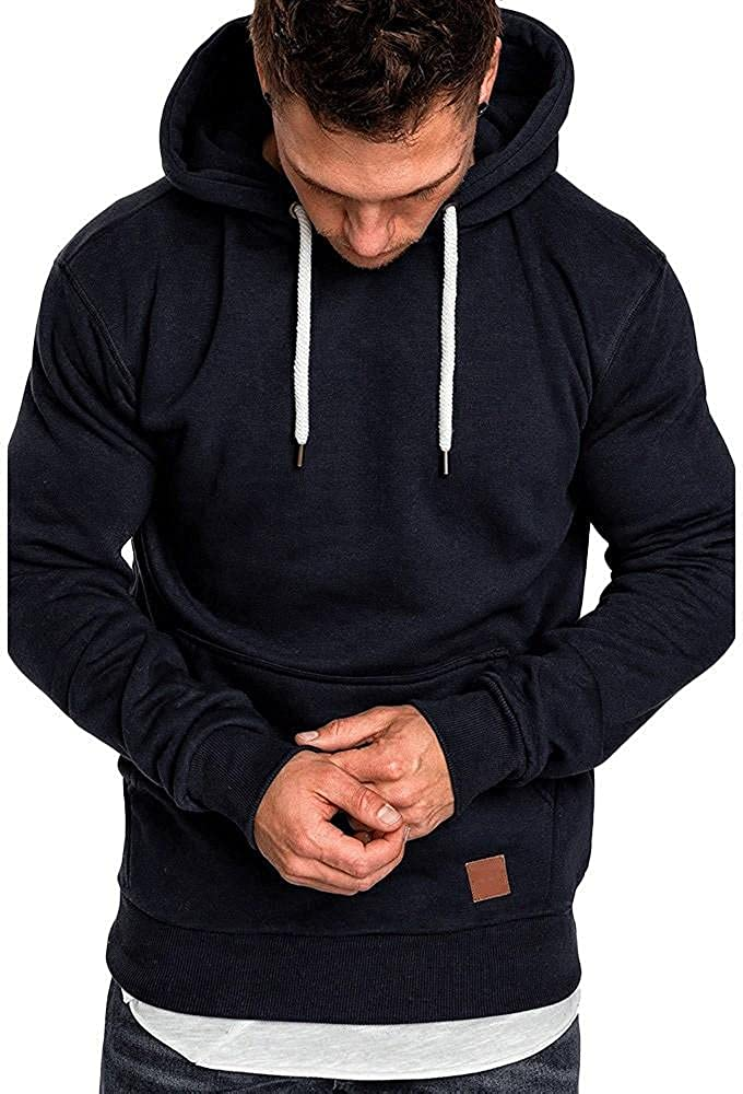 PHSHY Hoodies Sweatshirts for Men Lightweight Long Sleeve Drawstring Gym Workout Trainning Muscle Pullover Tops