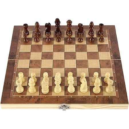 faltbar f/ür Kinder und Erwachsene Backgammon-Set tragbar 24 x 24 cm 3-in-1 Schachbrett-Set aus Holz