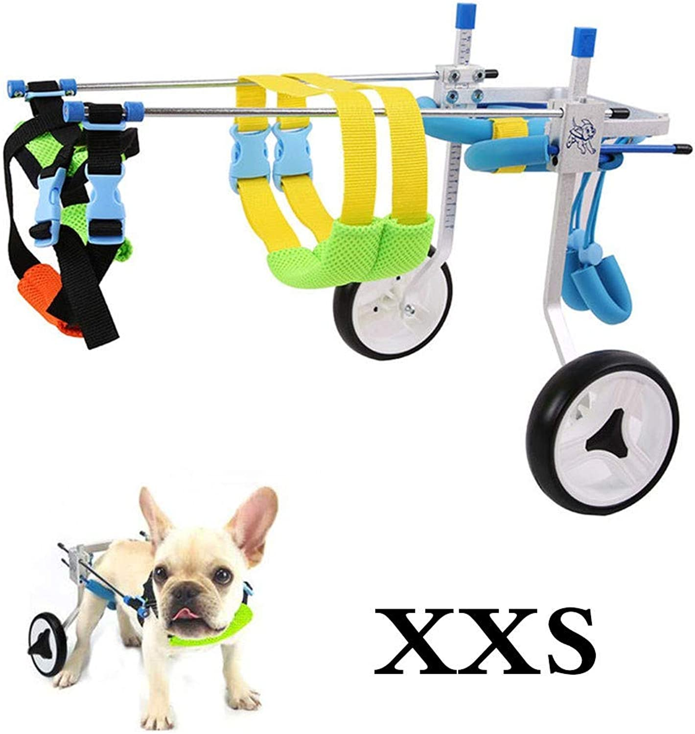 BEST WALKING Dog Wheelchair Adjustable Hind Leg Rehabilitation 2 Wheels Light Weight Easy Assemble Pet Mobility Aids For Handicapped Small Dog Doggie Puppy