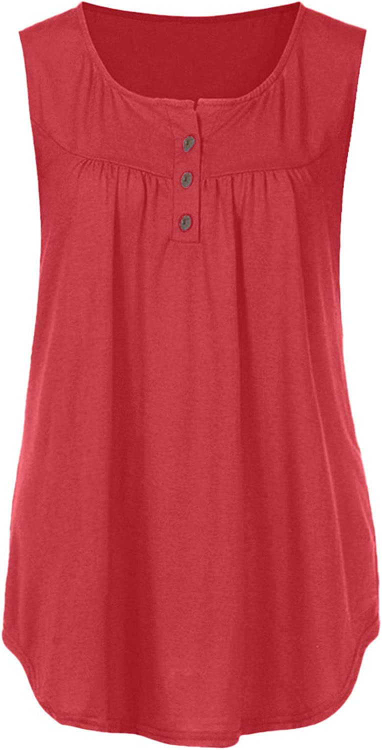 Summer Tops for Women 2021 Casual,Women's Summer Casual Comfort Flowy Tunic Loose Fitting Sleeveless Tank Tops