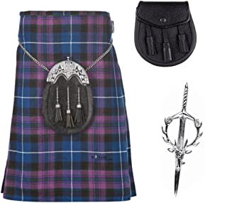 3 Piece Kilt Package with Kilt Pin and Sporran - Sizes 30-44 - Pride of Scotland