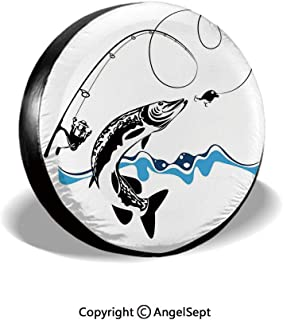 Spare Tire Cover,Big Pike Fish Catching Wobblers Reel Trap in River Raptorial Predator Print,Black Blue,for Jeep,Trailer, RV, SUV and Many Vehicle 14