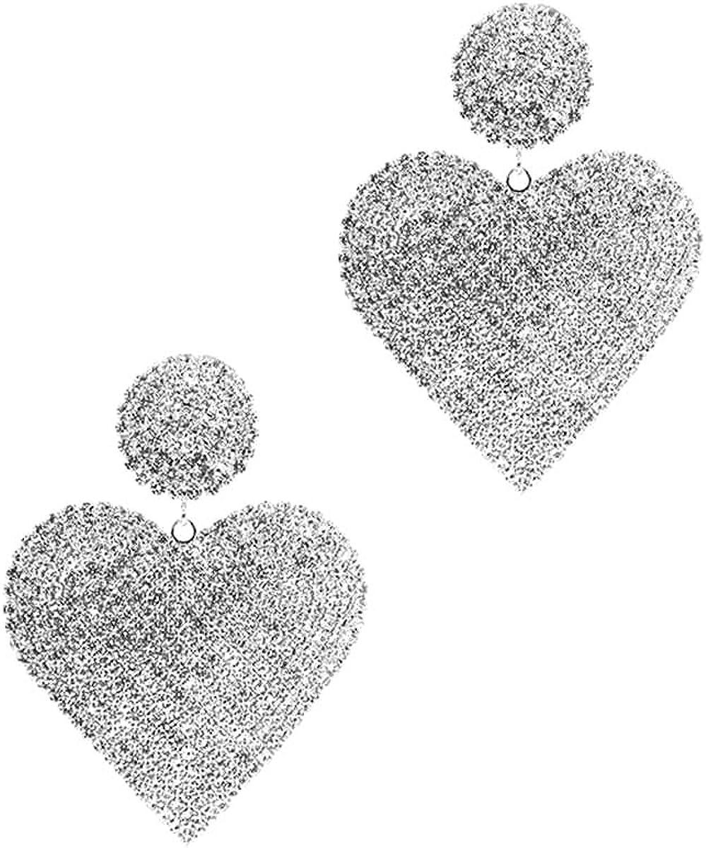 Large Heart Shaped Rhinestone Chandelier Clip On Earrings