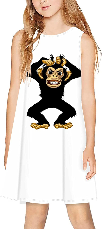 CAPINER 3D Print Girls Sleeveless Dress,Summer Sad Monkey Casual Dress Crewneck