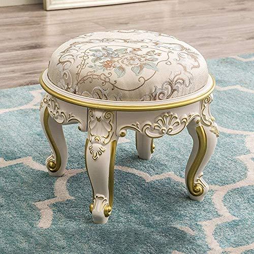 Europeo marfil blanco redondo maquillaje taburete clásico antiguo tallado tallado silla de comedor resina zapato zapato sala de estar sofá taburete otomano casa retro tela decorativa taburete,Gold