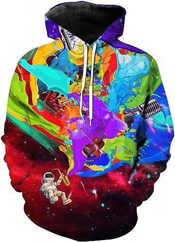 Unisexe 3D Sweat à Capuche Sweat à Capuche Hip Hop Graffiti Imprimer à Capuche à Col Roulé Pull à La Mode Décontracté