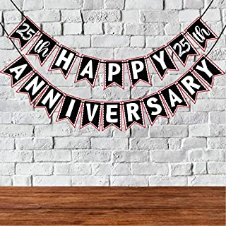 Wobbox 25th Anniversary Bunting Banner, Red & White , Anniversary Party Decoration