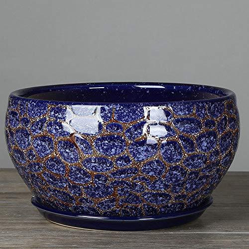 Decbde Blue Stone Grain Pot de fleurs en céramique Extra Large Monstera Pot Simple Classique Plante style chinois Plante en pot avec plateau en céramique Grand bureau Plante verte Pots de fleurs en cé
