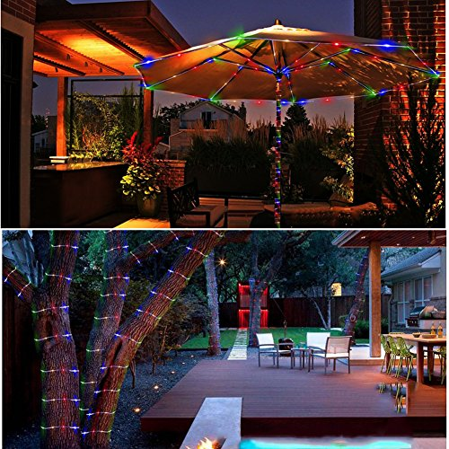 GREEMPIRE String Lights Outdoor, 120 Led 46ft Waterproof Fairy Lights Dimmable/Timmer Battery Powered Decorative Lights with Remote for Garden Patio (Multi-Color)