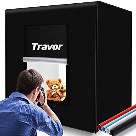 Travor Photo Light Box Kit 32x32Inch Dimmable Photo Studio Professional Shooting Tent with LED Lights, 4 Backdrops (Black White Red Blue) for Photography (Brightness 13000lm, CRI95+)