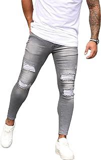 Men's Slim Fit Skinny Ripped Distressed Jeans White Paint Dot Stretch Stripe Trim Denim Pants