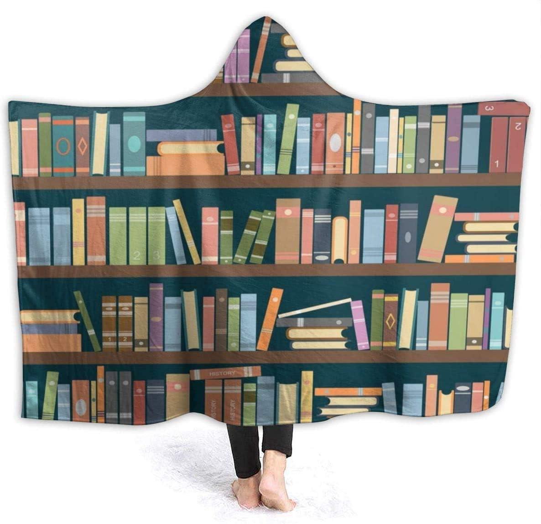 Cartoon Bookshelf Bookworm Hooded Blanket Popular NEW before selling ☆ standard Wearable Thr x 60
